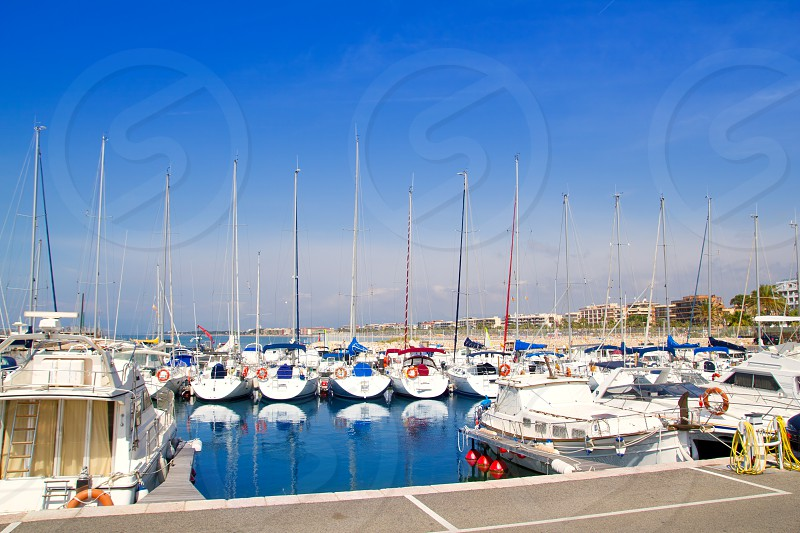 blue marina port in Salou Tarragona at Catalonia spain photo