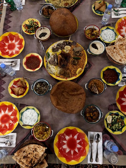 Rich Arabic food with different seasonings spices and spices. Flavor additive  photo