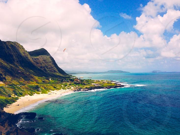 Paragliding Honolulu Waimanalo Hawaii Travel Beach Mountains Landscape Highway Lookout photo