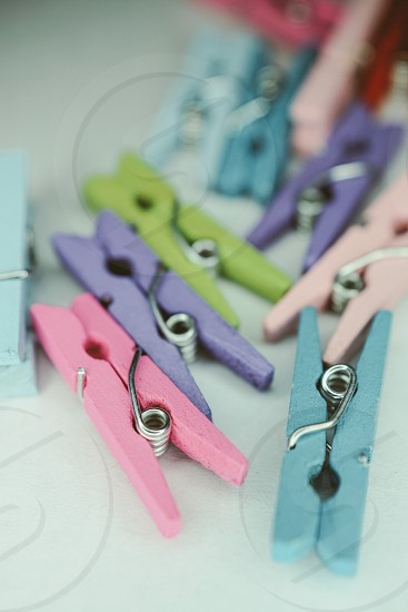 Colorful clothespins  photo