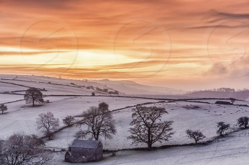 "Derbyshire ""The Peak District"" Sunrise Frost Hills UK England English photo"