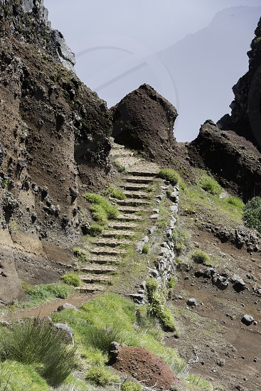 staircase tot the  high mountains at madeira island called pico arieiro the top is 1818 meters above sea level photo