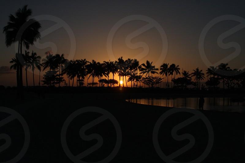 Sunset Hawaii Honolulu Hawaiian Hilton photo