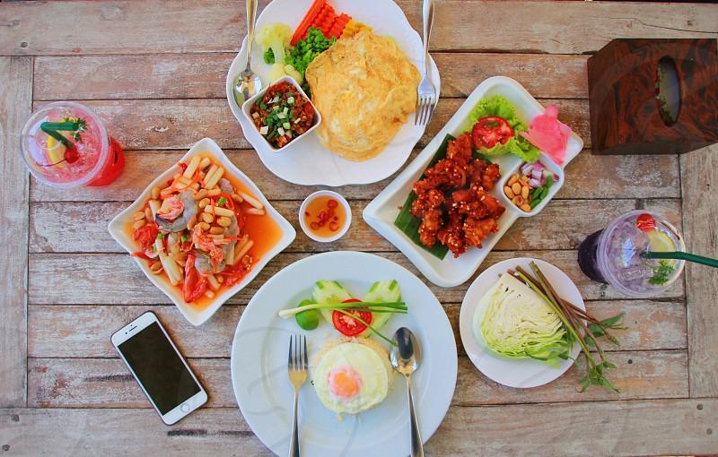 Thai food Thai stylepapaya saladfried eggs delicious fresh saladlunchspicyyummyhealthy  photo