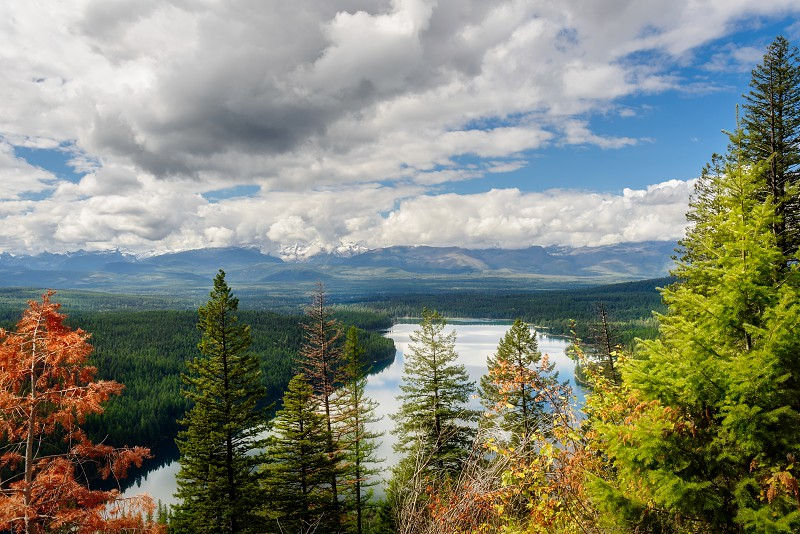 Autumnal View of Holland Lake in Montana photo
