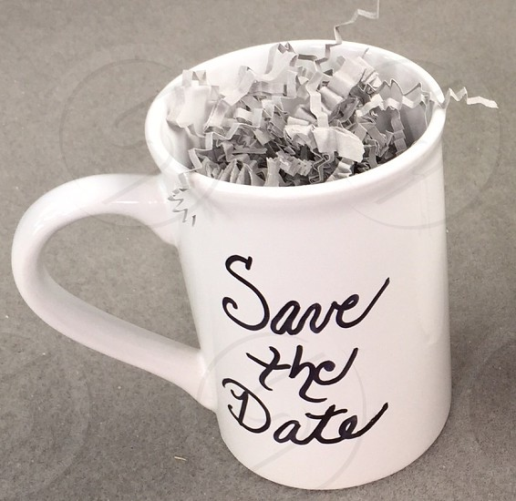 Save the date; coffee mug; wedding season; white photo