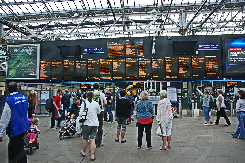 SCOTLAND. Edinburgh Waverley station the main departure and arrival boards. photo