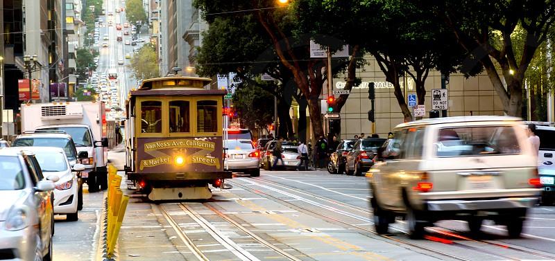 Cable car San Francisco California tram street traffic cars city cityscape urban  photo