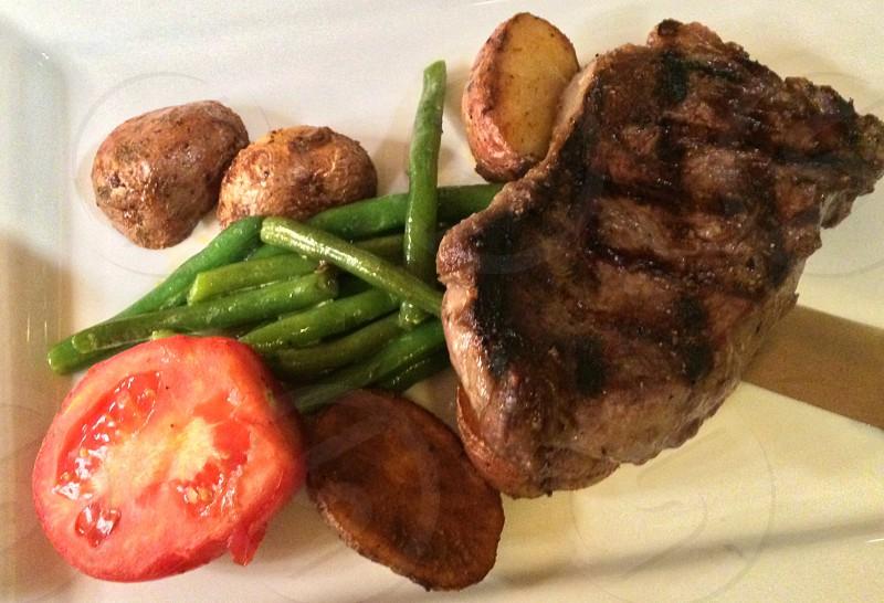 Kansas style steak with veggies by me.  photo