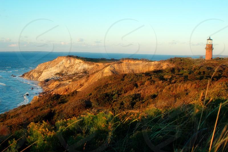 The Gay Head Cliffs and lighthouse at Aquinnah on Martha's Vineyard Island Massachusetts photo