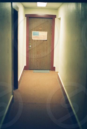Door American flag hallway film grain photo