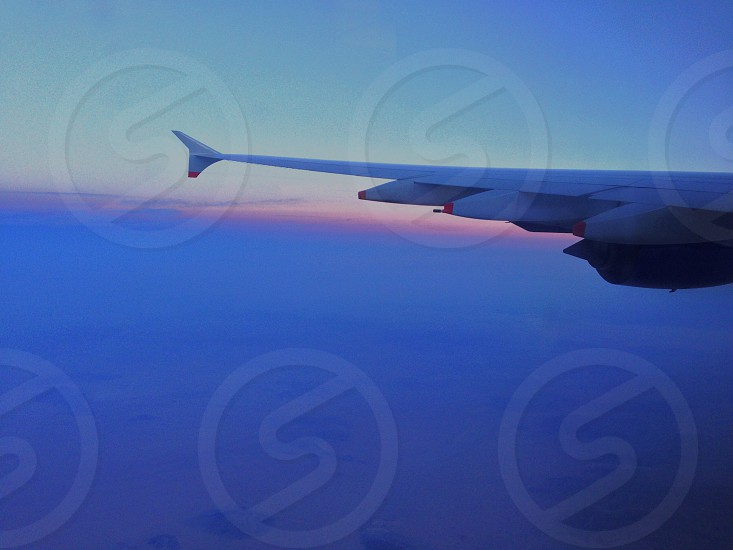 airplane wing on air photo