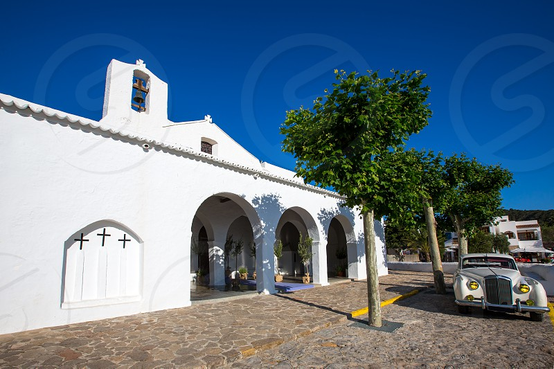 Ibiza Sant Carles de Peralta white church in Balearic Islands Spain photo