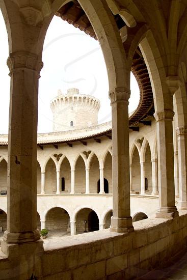 Bellver Castle Castillo cloister corridor in Majorca at Palma de Mallorca Balearic Islands photo