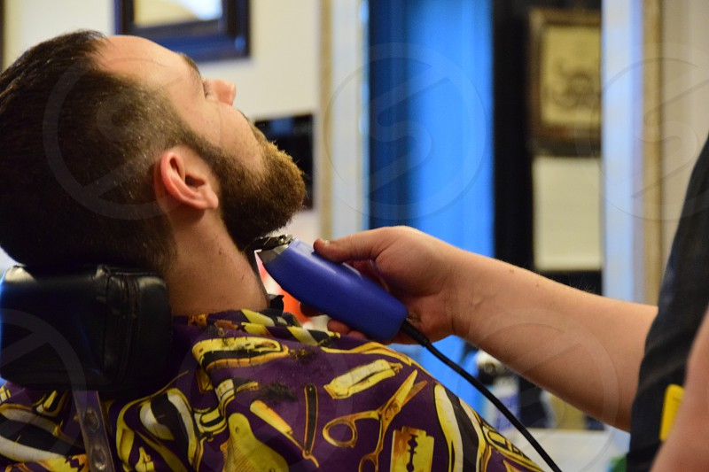Hipster vibe barber grooming bearded man photo
