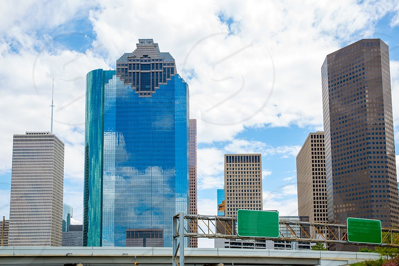 Houston Texas Skyline with modern skyscapers and blue sky view photo
