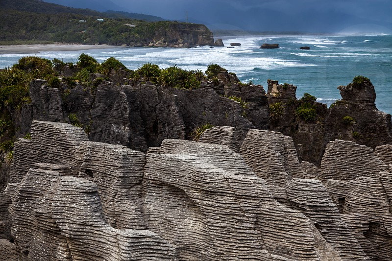 Pancake rocks near Punakaiki photo