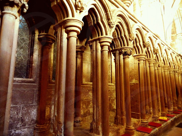 Lichfield cathedral columns vintage old architecture stone carving photo