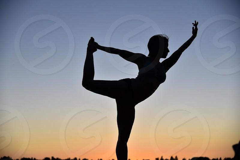 Fit female ballet pose photo