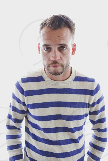 men's white and blue rugby stripe crewneck sweater photo