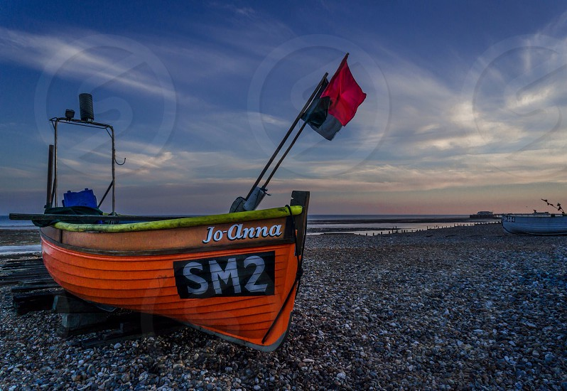 Boat sea seascapeflag beach worthing Sussex fishing  photo