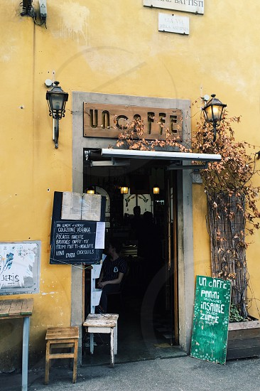 Italy Cafe yellow restaurant coffee shop city Firenze Florence photo