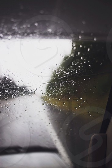 wind shield with water droplets photo