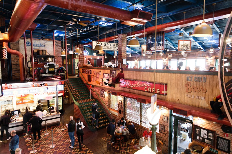 Hot Dog and interior shot of Portillo's in Chicago photo