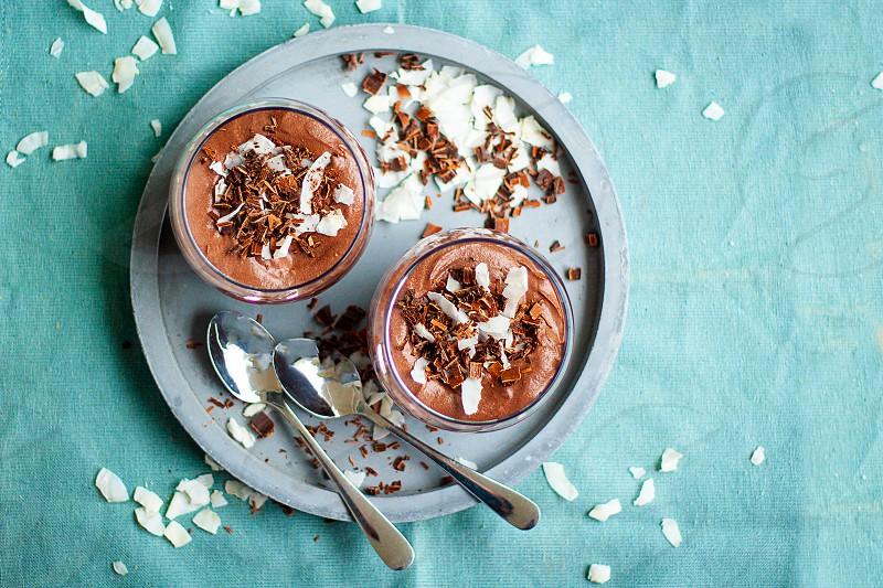 Homemade vegan chocolate mousse with coconut cream photo