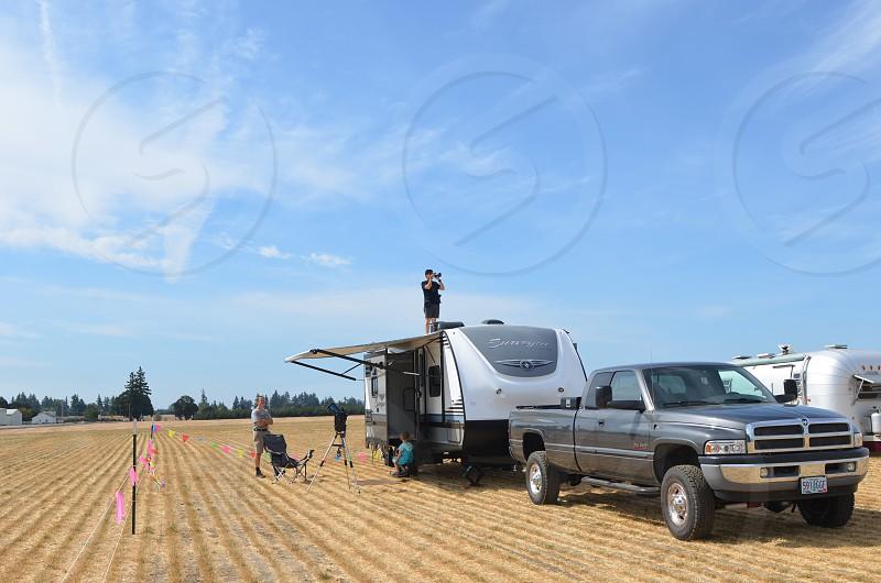 Road trip truck telescope RV trailer camping  photo