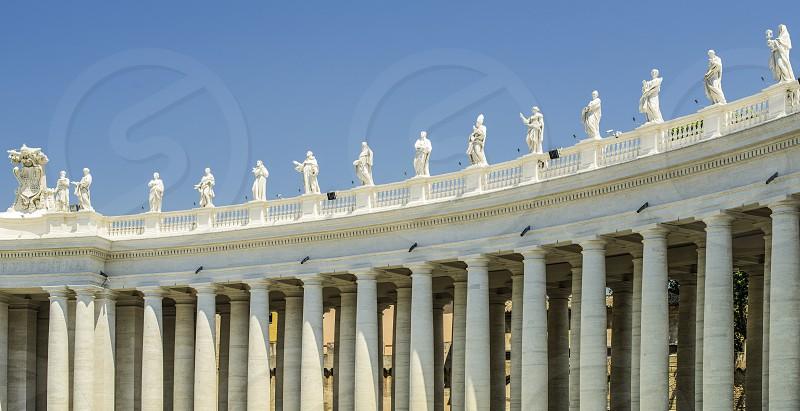 St. Peter's Squar Vatican Rome. Architectural details. Statues of saints photo