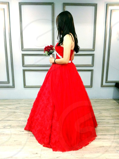 beautiful girl in red gown photo