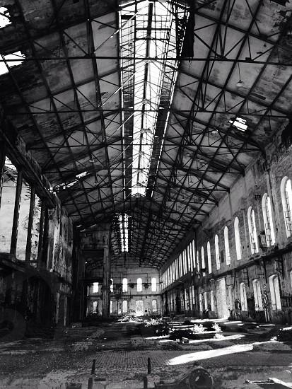 black and white abandoned warehouse photo