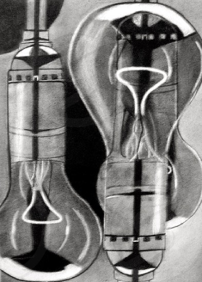Lightbulbs charcoal drawing sketch. Art draw light bulb creative  photo