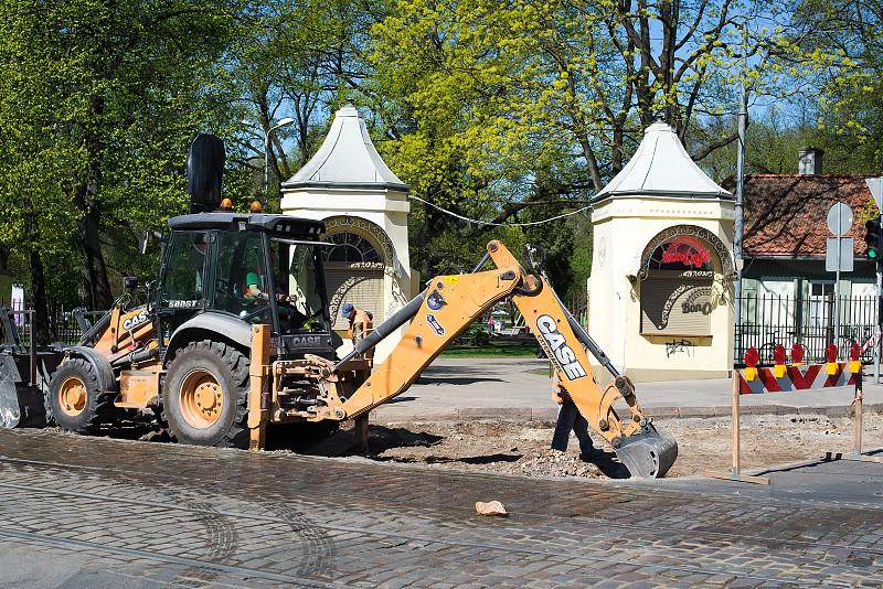 repair of Barona street in RigaLatvia photo
