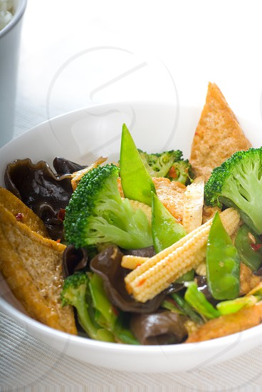 fresh and healthy tofubeancurd with mix vegetables typical chinese dish photo