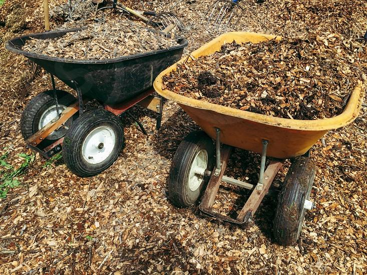 Bark mulch wheelbarrows photo