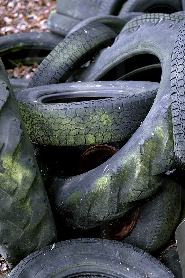 Pile of old tyres on a farm. photo