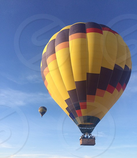 Hot air ballooning over vineyards. Napa's great attraction. photo