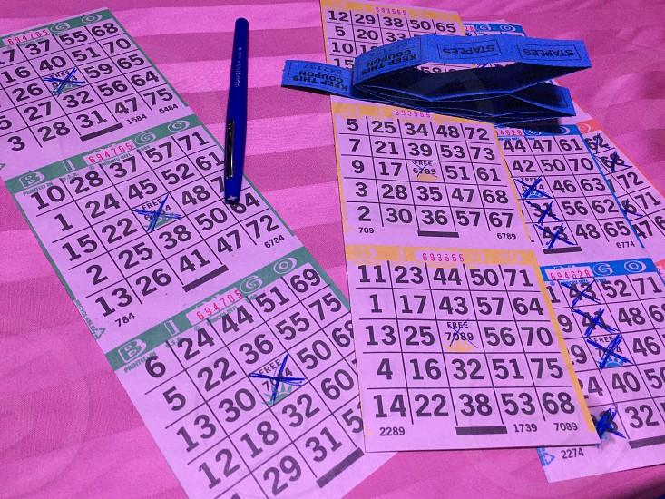 white and green bingo card photo