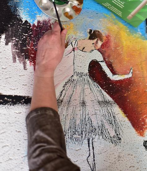 Hand painting acrylic still life photo