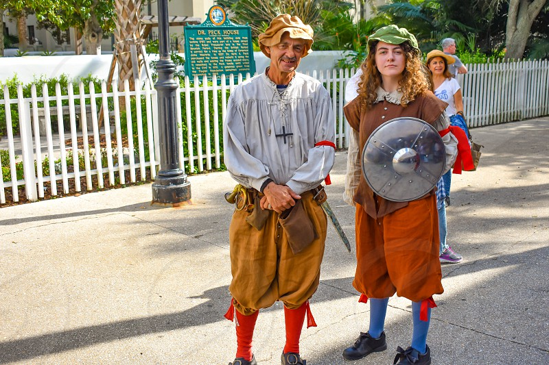 St. Augustine Florida. January 26  2019. Couple in 17th century clothing at Old Town in Florida's Historic Coast. photo