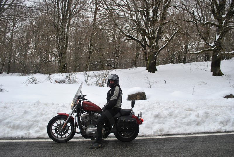 person wearing black full face helmet sitting on red and black touring motorcycle near white snow field and trees photo