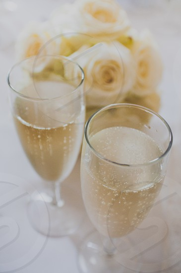 Flowers Glasses Champagne wedding  photo