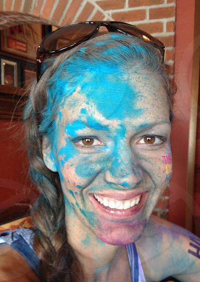 Paint sister woman blue color smile photo