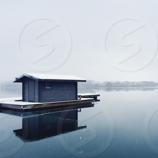 House reflection fog foggy mist misty winter water nature snow Sea lake geometric shapes photo