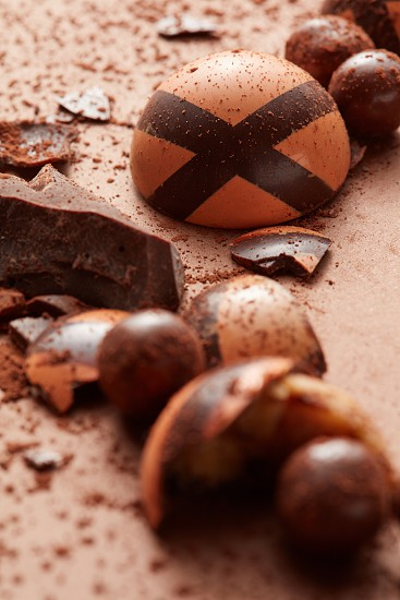 chocolate candy on a brown background Close up photo