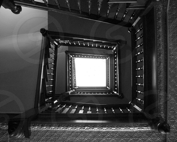 Up stairwell in black and white photo