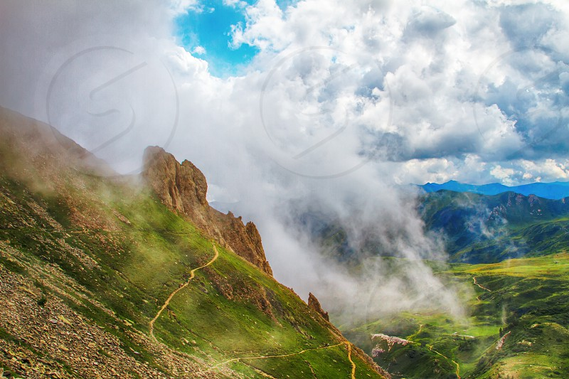 Beautyfull mountain landscape. Alps montains in Bagolino province of Brescia Italy. photo