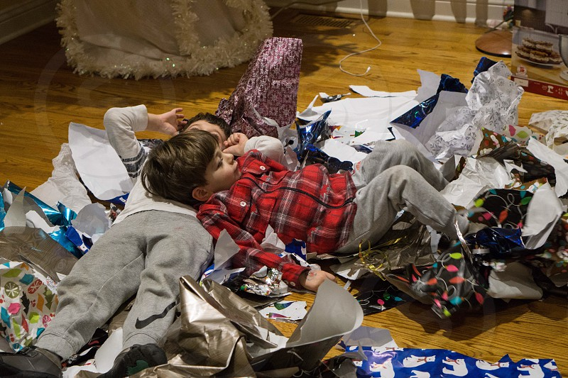 Christmas gift wrapping paper aftermath holidays presents  photo